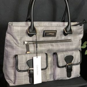 Calvin Klein Women's Glen Check Plaid Nylon Tote